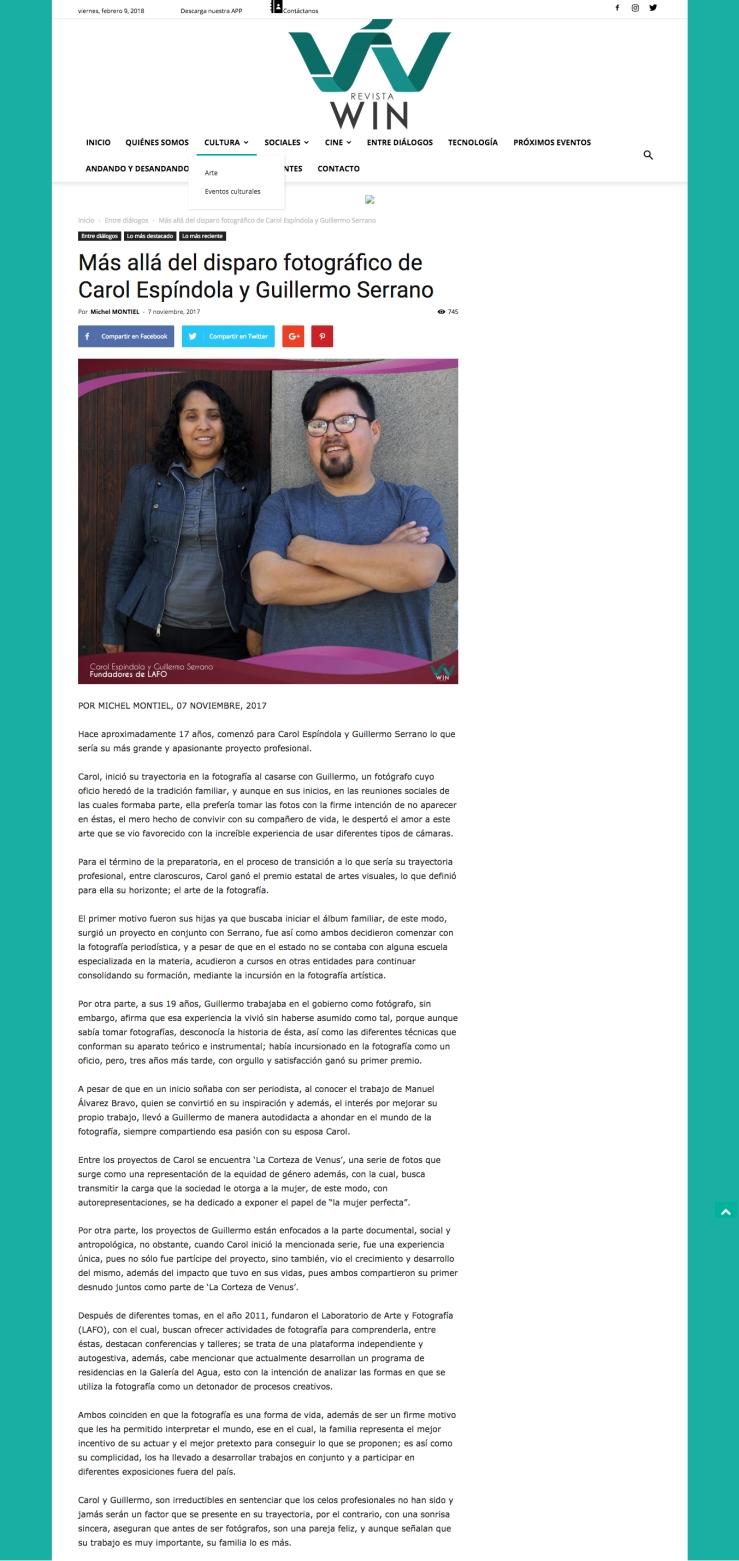 Entrevista Revista WIN