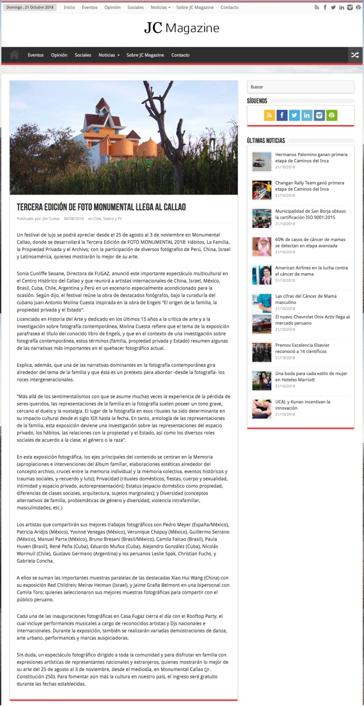 Nota de prensa de Monumental Callao